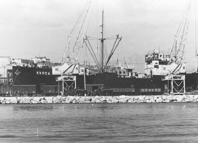 "Soviet support: Soviet vessel ""Kursk"" carrying military supplies for the spanish republican forces in port of Alicante"