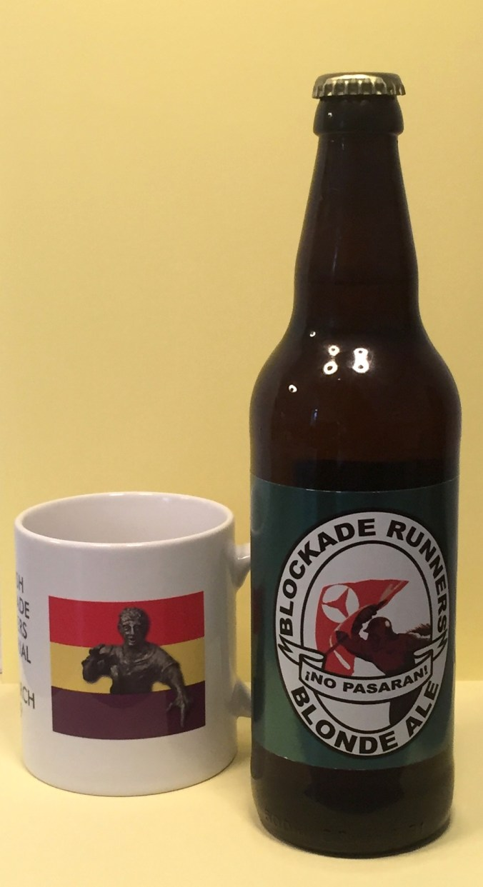 "Mug and beer bottle with motifs of respectively the top bronze sculpture of the monument by sculptor Frank Casey (on a background of the Spanish republican flag) and an illustration of blockade runners with the slogan from the Spanish Civil War ""¡No pasarán!"" (""They shall not pass"") – part of a photo reportage of the unveiling of the monument 'Blockade-Runners to Spain' in Glasgow, 2. March 2019"