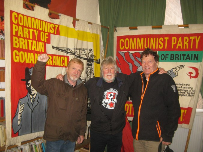 Iain, Stuart and Allan in the party offices in Glasgow – part of a photo reportage of the unveiling of the monument 'Blockade-Runners to Spain' in Glasgow, 2. March 2019