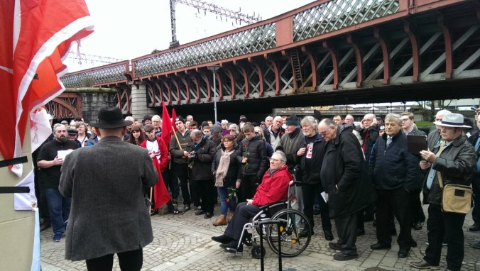 Sculptor Frank Casey giving a speech – part of a photo reportage of the unveiling of the monument 'Blockade-Runners to Spain' in Glasgow, 2. March 2019