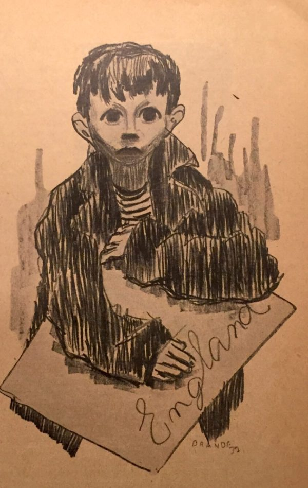 "Marlie Brande's drawing for ""The Address"" from 1937 by Ruth Berlau"