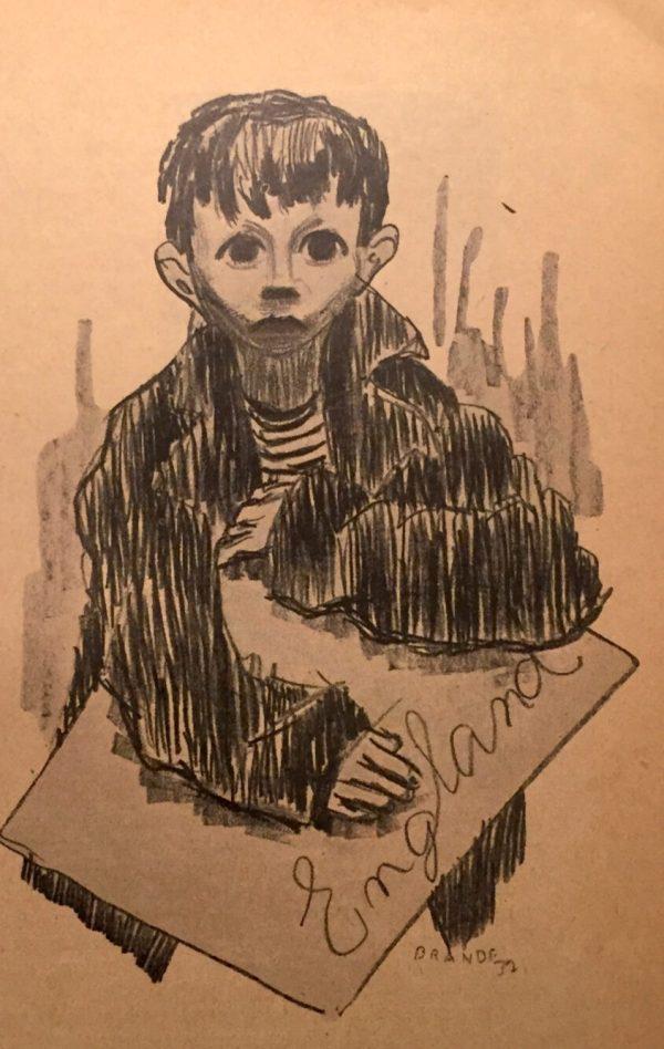 """Marlie Brandes Zeichnung für """"The Address"""" von 1937 von Ruth Berlau"""
