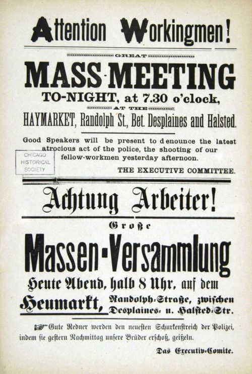 Leaflet announcing the rally at Haymarket Square the 4th of May 1886