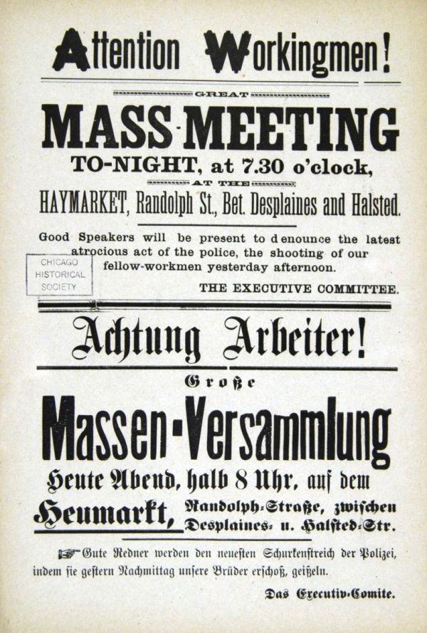 Flugblatt zur Ankündigung der Kundgebung auf dem Haymarket Square am 4. Mai 1886