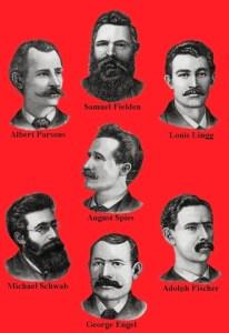 Gravering med ansigterne på de syv mænd, der blev dømt til døden for mordet på politibetjenten Mathias J. Degan. Historien om 1. maj