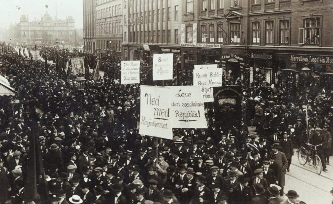 1. Mai Demonstration in Kopenhagen, Dänemark, 1915