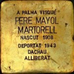 Pere Mayol Martorell. One of the brass memorial 'stones' dedicated to the residents of Palma who were victims of fascism. Stumbling stones. Photo: Folke Olsson