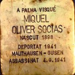 Miquel Oliver Socias. One of the brass memorial 'stones' dedicated to the residents of Palma who were victims of fascism. Stumbling stones. Photo: Folke Olsson