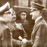 Franco og Hitler i Hendaya, ved grænsen til Frankrig, 1940, venskabeligt håndtryk