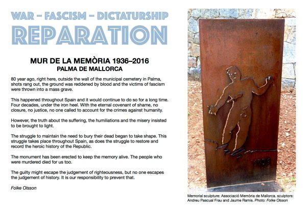 Front page of Folke Olsson's booklet about Mur de la Memòria – the Wall of Memory, Palma de Mallorca, 2011