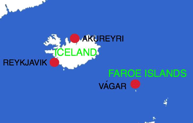 Illustration: Kort over Island og Færøerne