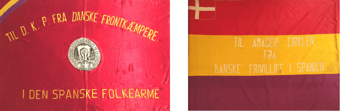 The two flags from the Danish volunteers in the Spanish Civil War