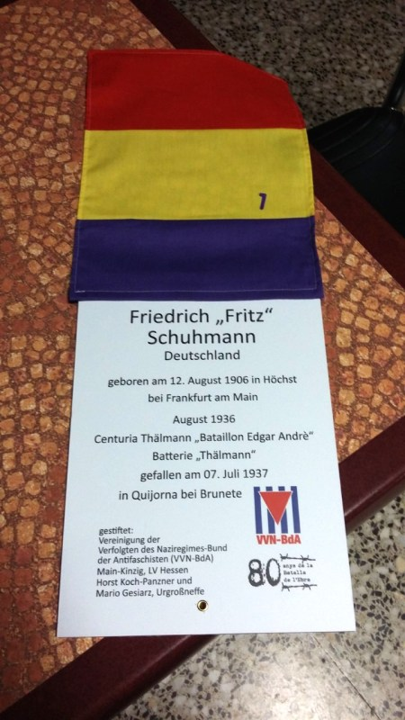 "Tree memorial plaque for Friedrich ""Fritz"" Schuhmann erected in a memorial park in La Fatarella, Spain, November 2018"