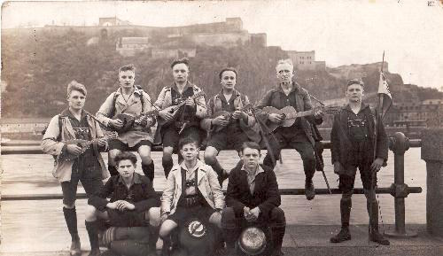 Höchst Mandolin Club on an outing to Koblenz in the 1920s, back, left, Friedrich Schuhmann