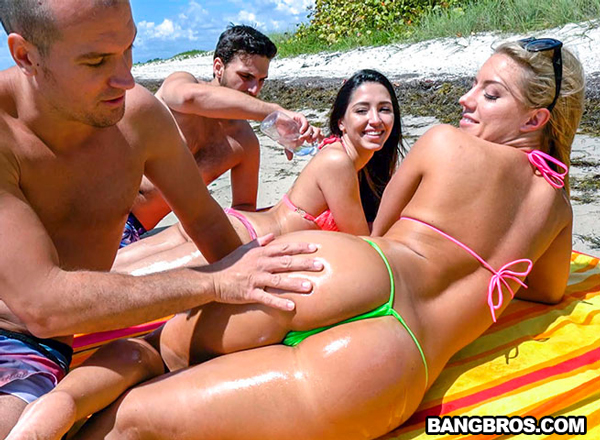 Bikini babe Candice Dare gets her ass oiled up in Spring Break Booty