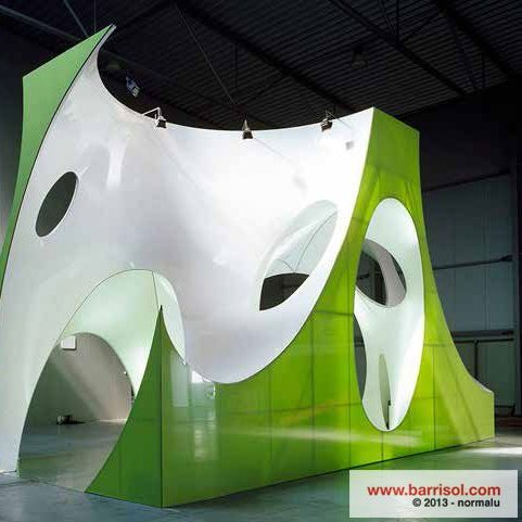 Barrisol 3D vormen groen en wit, akoestisch verantwoord