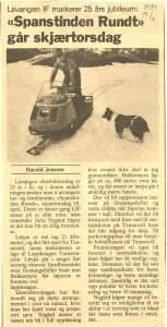 Avisutklipp fra Spanstind Rundt i 1984