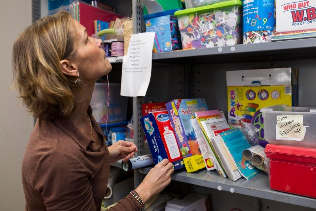 Lisa Vasiloff, Cofounder and Executive Director of Birthday Wishes, chooses crafts supplies for an upcoming Thanksgiving themed party at the NGO's main office in Newton, Massachusetts on Wednesday November 18, 2015. Birthday Wishes is a NGO that organizes birthday parties for homeless children in Massachusetts, Rhode Island and Long Island, New York.