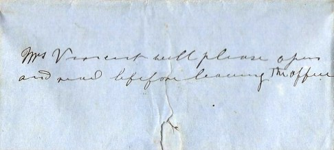 Note on rear of envelope
