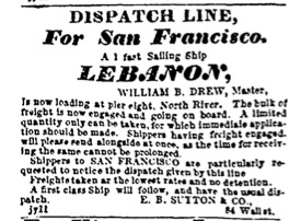Advertisement in Evening TImes, July 1850