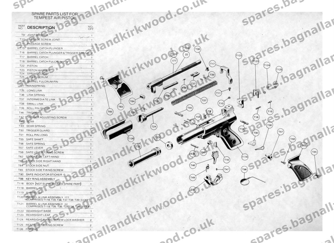 Webley tempest spare parts bagnall and kirkwood airgun spares webley tempest air pistol exploded parts diagram pooptronica