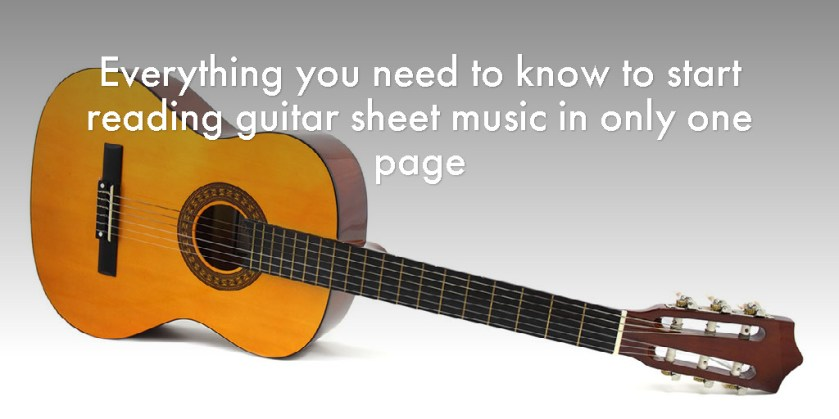 Everything you need to know to start reading guitar sheet music in only one page