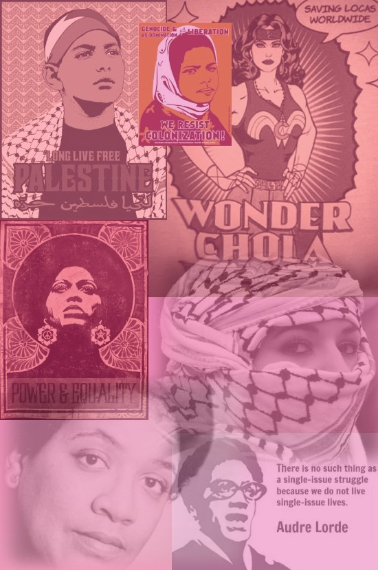 BComposition displays a digital collage featuring images of women of color with a pink overlay.