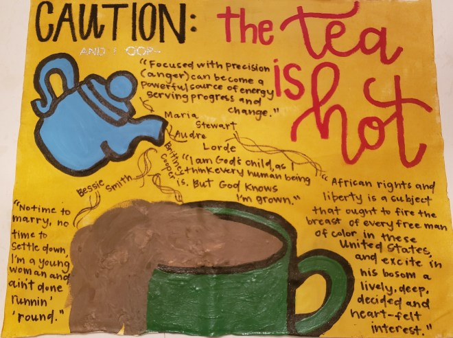 "Hannah's one pager displays a ""Caution"" The tea is hot"" large text across the top with a blue tea pot and green mug surrounded by handwritten text."