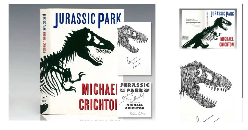 Raptis Rare Books in Palm Beach, Florida, shared this very special first edition of Michael Crichton's Jurassic Park signed by Crichton and film director Steven Spielberg on the title page, and signed with an original drawing by Chip Kidd on the verso of the half-title page. Sadly, it's sold, but you can browse more in Raptis' exhibition Jurassic Park at 30.