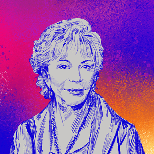 Illustrated portrait of author Isabel Allende