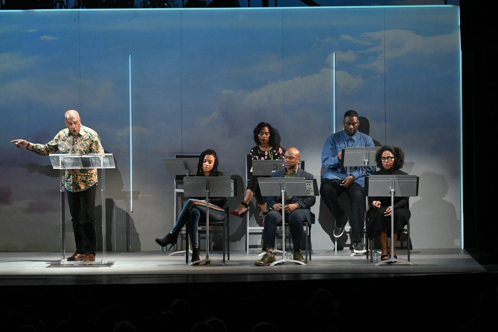 "Joe Morton reads a passage from ""Between The World and Me"" at the Apollo Theater. Photo: Shahar Azran"