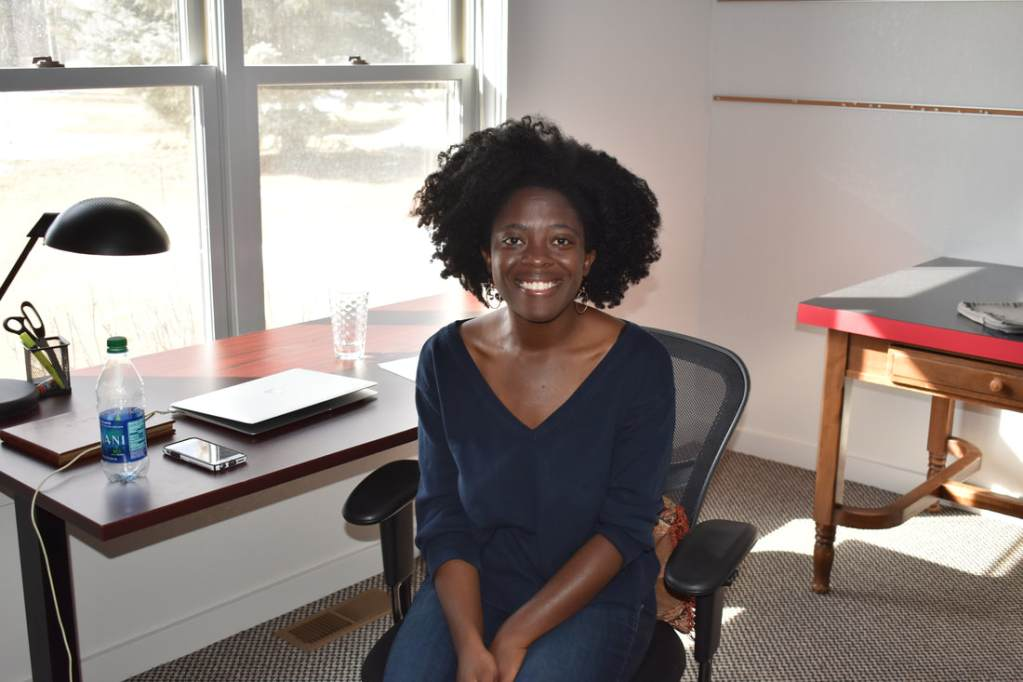 Yaa Gyasi at her writing desk at the Ucross Foundation, in Wyoming, where she found space in the wide-open landscape to begin her next book. Photo courtesy Ucross Foundation.