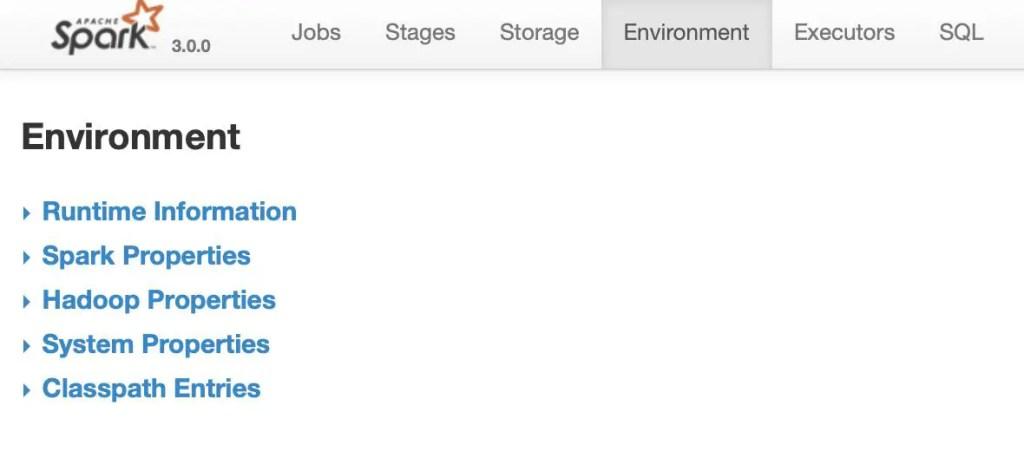 Spark Job Environment UI