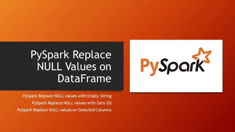 PySpark fillna() & fill() – Replace NULL/None Values
