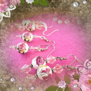 Rose Earrings Vintage Pink Tan