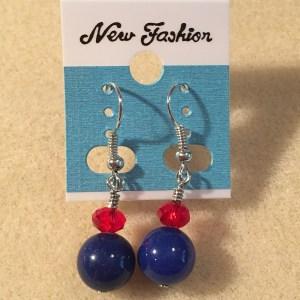 blue red patriotic earrings