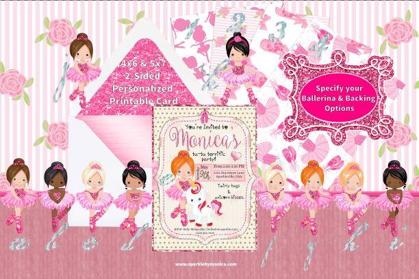 Ballerina Unicorn Birthday Invitation Printable Personalized Digital Card