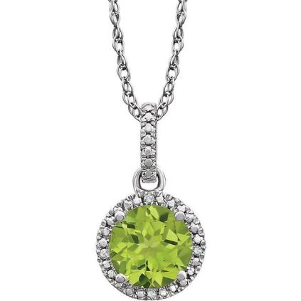 Sterling Silver Diamond Accented Peridot Necklace