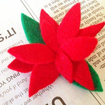 felt poinsettia photo frames