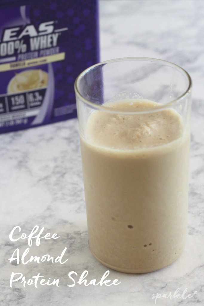 It's so tasty to fuel yourself after a tough workout with this Coffee Almond Protein Shake!