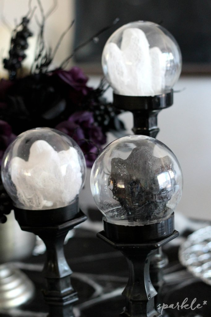 Mini cheesecloth ghost globes. It's a fun and easy halloween decor project that the kids love!