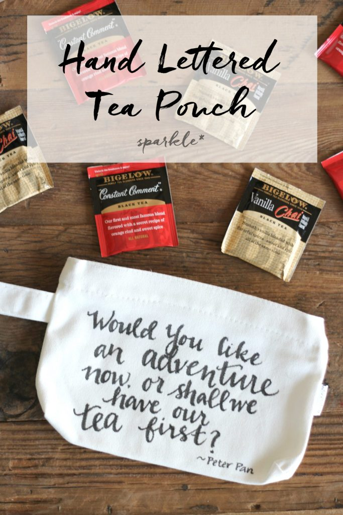 DIY a handlettered pouch to carry your tea on the go!