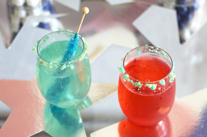 Sparkling Stars and Stripes Candy Cocktails