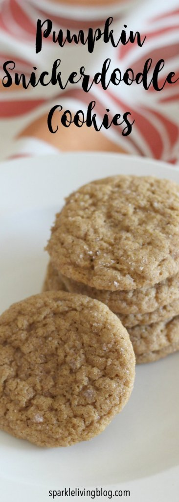 These pumpkin snickerdoodle cookies are chewy and taste like fall!