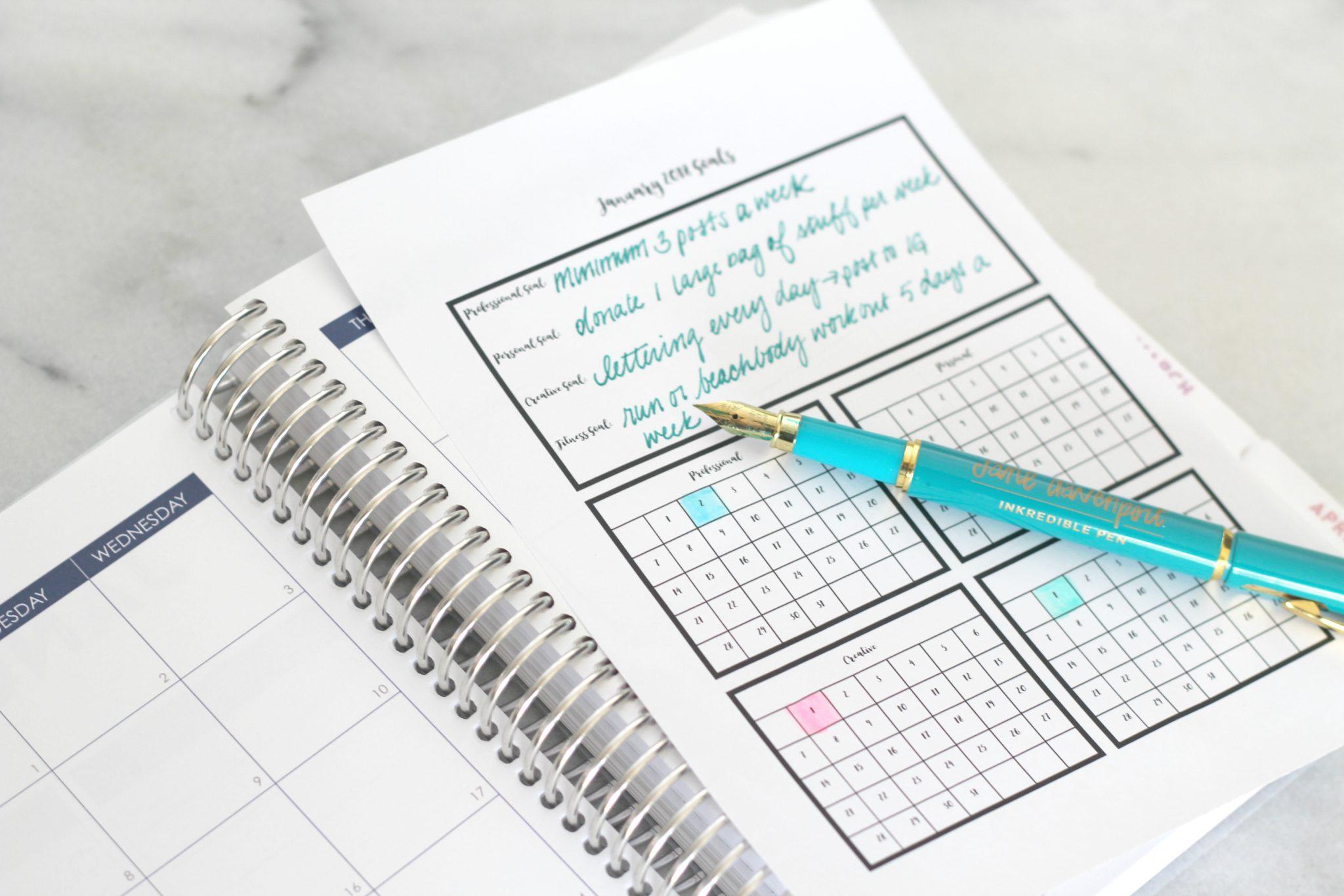 January 2018 Goal Tracking Planner Printable