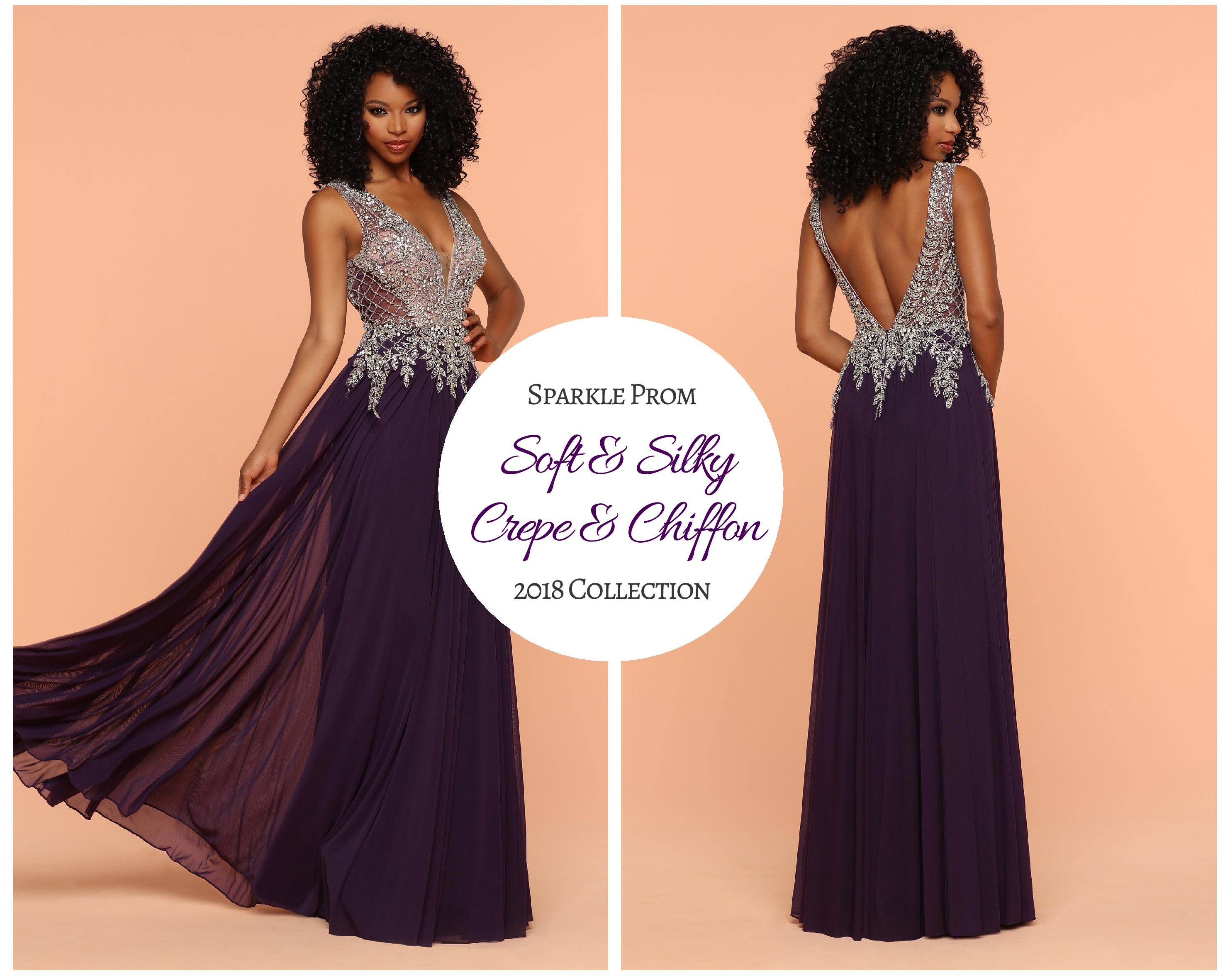 New Collection! Soft & Silky Sparkle Gowns: Crepe & Chiffon Dresses for Prom 2018