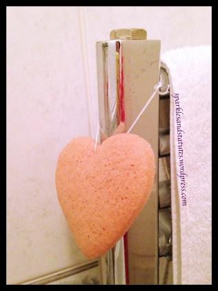 clay sponge on towel rail
