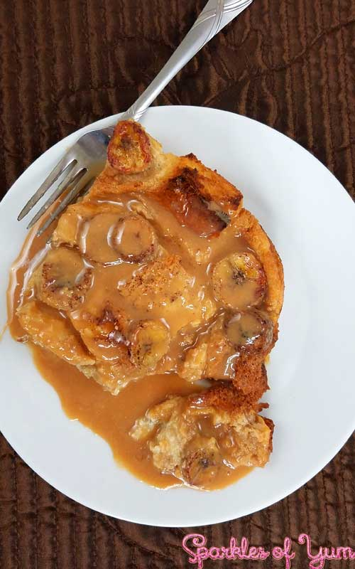 This Salted Caramel Banana Bread Pudding is as close toheaven on a fork as you can get! Bananas and bread drenched in salted caramel, all toasty warm straight out of the oven.