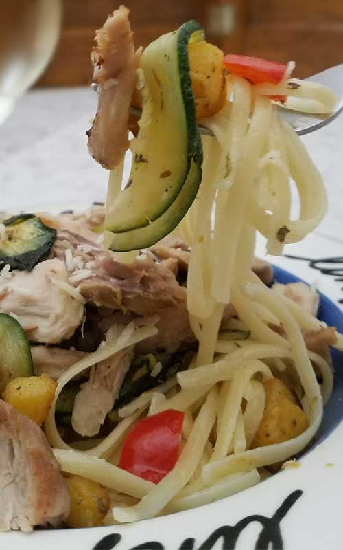 Pan Roasted Chicken Vegetables and Pasta