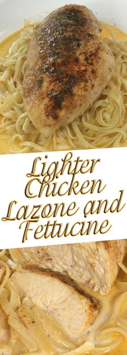 Such simple ingredients everyone has on hand, adds up to such great flavor. No one has to know how simple and quick thisLighter Chicken Lazone and Linguine is. #chicken #pasta #ldinnerideas